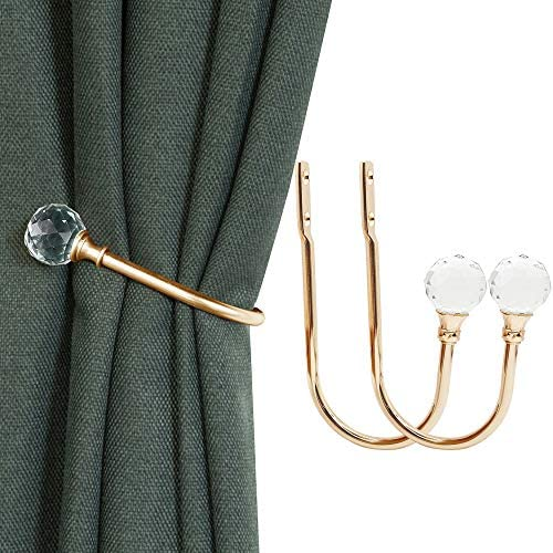 KOLAKO Curtain Holdbacks, Curtain Tieback Hooks with Crystal Ball for Drapes, Gold Metal Decorative Drapery Curtain Holdback Holder Wall Window Treatment Holdback for Home Office