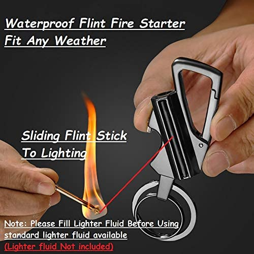 Keychain Bottle Opener Flint Fire Starter Permanent Match Multi-tool Keychain Waterproof Keychain lighter Refillable Survival Lighter Cool Gift for Men and Outdoor Camping with Key Rings
