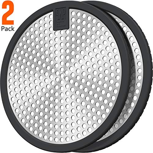 2Pack Stainless Steel Bathtub Drain Hair Stopper Shower hair catcher Drain cover 4.5inch Large size Suit for Bathroom Bathtub and Kitchen Easy Clean(Black+Black)