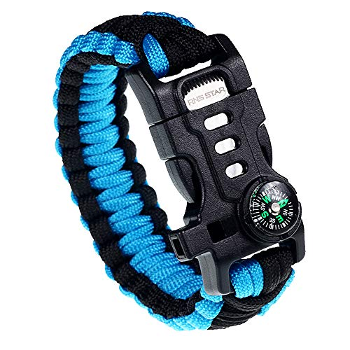 RNS STAR Paracord Survival Bracelet with Paracord Rope, 5-in-1 Tactical Bracelet Fire Starter, Compass, Emergency Whistle & Small Knife for Hiking Traveling Camping Gear kit