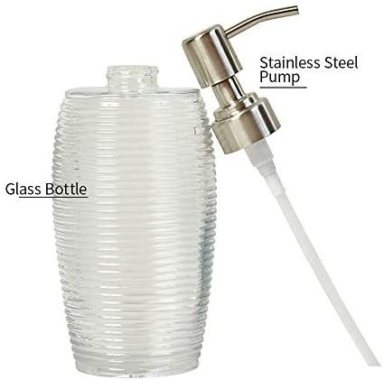 YiMeng Glass Soap Dispenser with Stainless Steel Pump, 16 Ounce Clear Bottles Dispenser with Rustproof Pump for Bathroom and Kitchen (Grey)