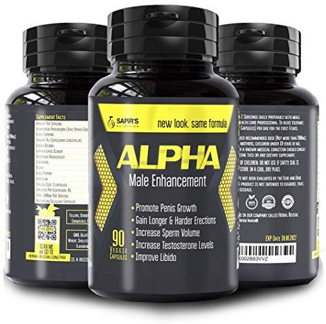 Natural ALPHA Male Enhancement Pills - Penis Enlargement, Testosterone Booster and Sexual Performance Increaser BIG DICK in less than 2 Months 90 Vegan Cellulose Capsules