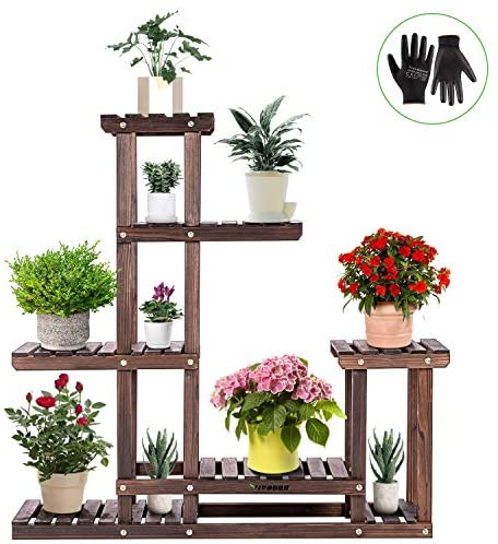 VIVOSUN Wood Plant Stand High Low Shelves Flower Rack Display for Indoor Outdoor Garden Lawn Patio Bathroom Office Living Room Balcony (6 Wood Shelves 10 Pots)