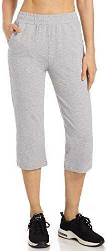 Spowind Women's Yoga Jogger Capri Pants - Jogger Walking Crop Jersey Pants with Pockets