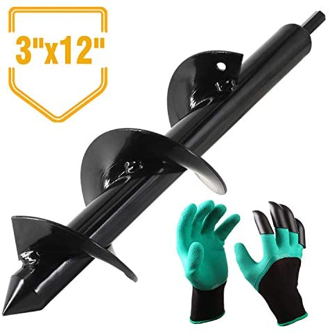 """Seven Sparta Auger Drill Bit, Garden Auger Bit for Plant Flower Bulb 3"""" x 12"""" with Garden Genie Gloves, Post or Umbrella Hole Digger for 3/8"""" Hex Drive Drill, Earth Auger Bit"""