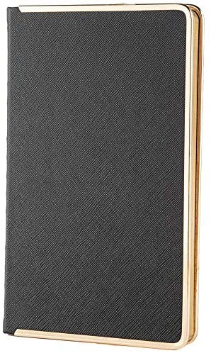 """Sooysoo Notebook hardcover Journal Faux Leather with Inner Pocket A5size 5.25"""" x 8.25"""" black - Ruled"""