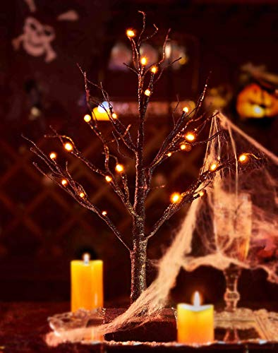Hairui Lighted Tabletop Black Glittered Spooky Tree with Orange Lights 24 LED 18 Inches for Halloween Witch Decoration Battery Operated Indoor Use