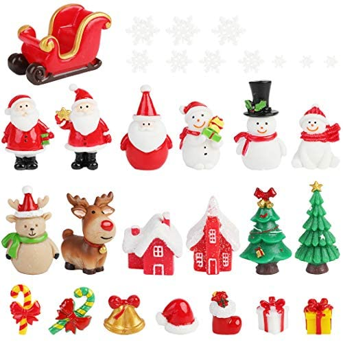 FunPa Christmas Mini Ornaments,30PCS Mini Resin Christmas Ornaments Decor for DIY Fairy Garden Dollhouse Decoration Desktop Christmas Decoration