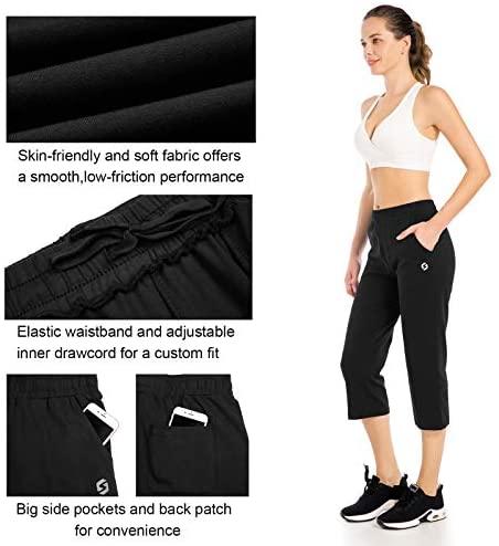 Spowind Women's Yoga Lounge Capri Pants - Jogger Walking Crop Jersey Pants with Pockets
