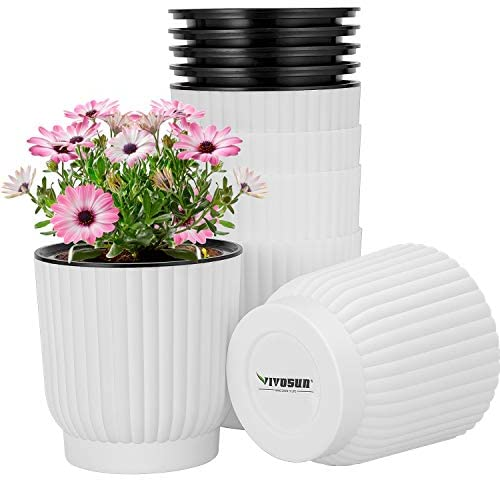 VIVOSUN 6-Pack Self Watering Pots Plastic Flower Pots Self Watering Planters for All House Plants,Flowers, Herbs White