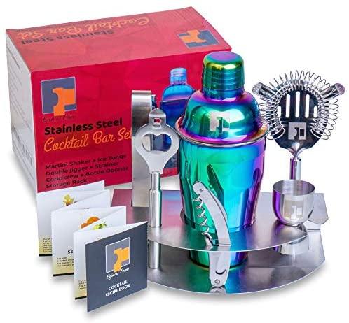 7pc 304 PREMIUM GRADE STAINLESS STEEL Professional Bartender Rainbow Cocktail Shaker Bar Tool Set - Barware Accessories Kit - Martini Gift Set - Bonus Recipe Booklet by Eximius Power