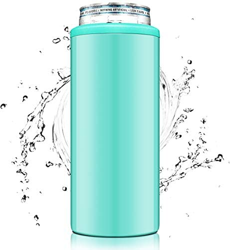 SENSIVO 12oz Triple Insulated Skinny Can Cooler | Double-Walled Stainless Steel Drink Holder for Slim Beer & Hard Seltzer | Slim Can Coozie for Tall Skinny Cans - Aqua
