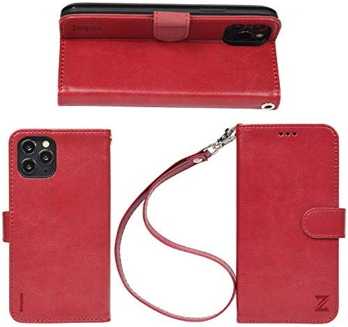 70% off iPhone11Pro Leather Wallet Case Detachable Strap WineRed Black Brown HandsFree Stand CaseOn Wireless Charging Zorquax Premium PU Leather Antislip Flip Case 5 Storage Slots Magnetic Clasp RFID Protection