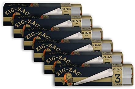 Zig-Zag Rolling Papers - Pre-Rolled Paper Cones -Ultra Thin King Size 110mm - 6 Pack (18 Cones)