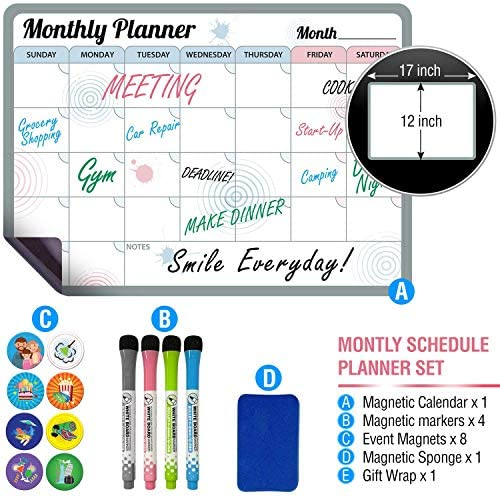 Magnetic Calendar Planner For Refrigerator - Monthly Dry Erase Calendar For Fridge - Kit Of Fridge Calendar With Markers 8 Unique Magnet & Eraser -Kitchen Dry Erase Calendar For refrigerator 17x12inch