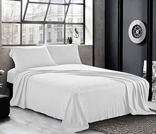 Pure Bedding Jersey Sheets Queen [4-Piece, White] Cotton Bed Sheets - Extra Soft Cotton Sheet Set, Cozy T-Shirt All Season Heather Sheets - Deep Pocket Fitted Sheet, Flat Sheet, Pillow Cases