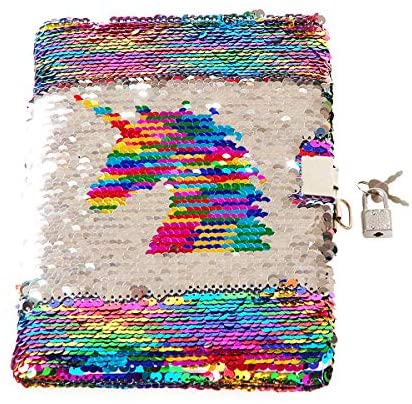 Poitemsic Unicorn Sequin Diary with Lock and Key Rainbow Reverse Sequins Notebook Journal for Girls Children Diaries School Supplies - 160 Pages