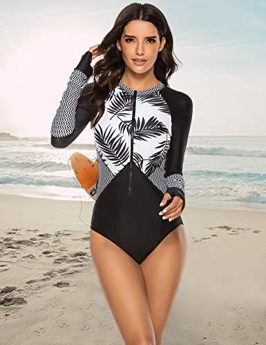 SELINK Women's Long Sleeve Rash Guard UV Protection Zipper Printed Surfing One Piece Swimsuit Bathing Suit