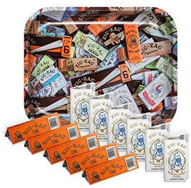 Zig-Zag Rolling Papers and Tray Bundle -11 Booklets and 1 Large Rolling Tray