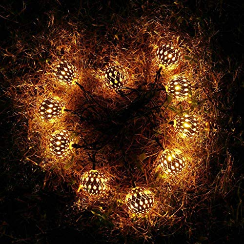 The Corner Of Joy LED Globe String Lights, Moroccan Ball String Lights, 20 Golden Metal Balls, Battery Operated, Decor for Home, Bedroom, Party, Wedding, Christmas Tree (Warm White)…