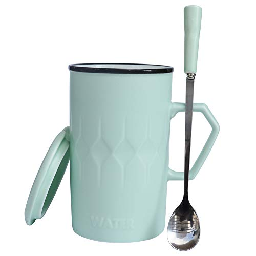 FamilyDate 16 oz Tall Ceramic Coffee Mugs with Lids and Handles for Women, Pretty Larger Tea Cups with Spoon, Crazing Gift for Family (Light Green)