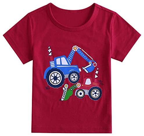 Kids Toddler Baby Girl Boy Short Sleeve Shirt Digital Car Print Summer White Red T-Shirt Top Suit (1-6 Years Old)