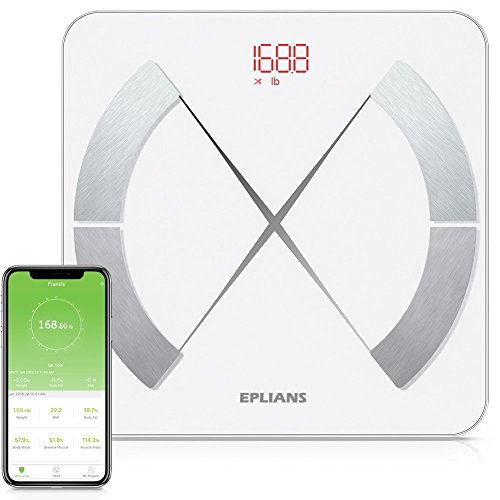 Body Fat Scale, EPLIANS Smart Body Composition Scale, Body Weight Scale, Body Composition Monitor, Smart BMI Scale Digital Bathroom Weight Scale, Body Composition Analyzer with Smartphone App (White)