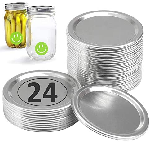 Canning Lids Regular Mouth (24-Pack), Canning Mason Jar Lids Compatible with Ball Regular Jars, Split-type Lids with Hermetic Seal Leak Proof - Compatible with 70mm Jar Lids