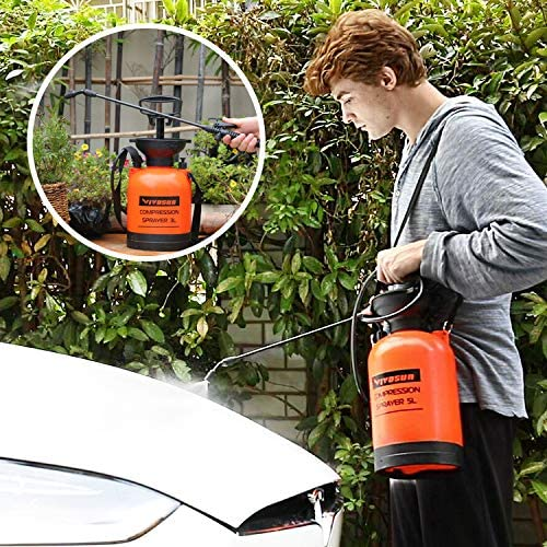 VIVOSUN 1.3 Gallon Lawn and Garden Pump Pressure Sprayer with Pressure Relief Valve, Adjustable Shoulder Strap