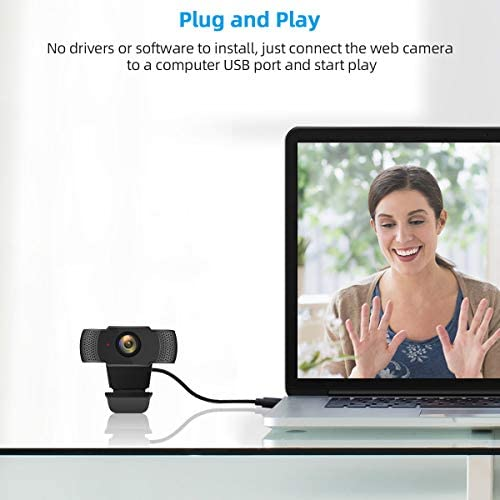 1080P Webcam with Microphone, Acetek Full HD Streaming USB 2.0 Computer Web Camera [Plug and Play] [Fixed Focus] [Wide Angle] for Desktop PC Laptop Mac Video Calling, Recording, Conferencing