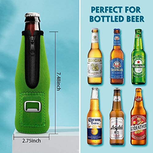 Aymaloy Beer Bottle Coozies (Pack of 4), Beer Bottle Holders to Keep Cold With Zipper Insulated Beer Cooler Neoprene Bottle Coozie