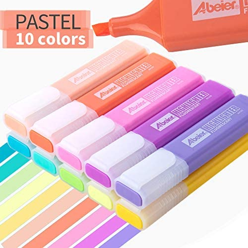 Pastel Colors Highlighter, 10 Assorted Macaron Colors, Chisel Tip Marker Pen, Water Based, Quick Dry, Eye Protection, For Adults & Kids, Extra Long Marking Performance