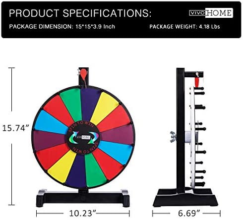 VIVOHOME 12 Inch/ 24 Inch Tabletop Spinning Prize Wheel 14 Colorful Clicker Slots with Dry Erase for Carnival Trade Show
