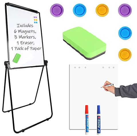 "Houseables Easel Style Dry Erase Boards, Teaching Easels, 24"" x 36"", 1 Whiteboard, 6 Magnets, 3 Markers, 1 Eraser, 25 Paper Sheets, Black, White, Flip Chart Stand, Presentation, Double Sided, Clamp"