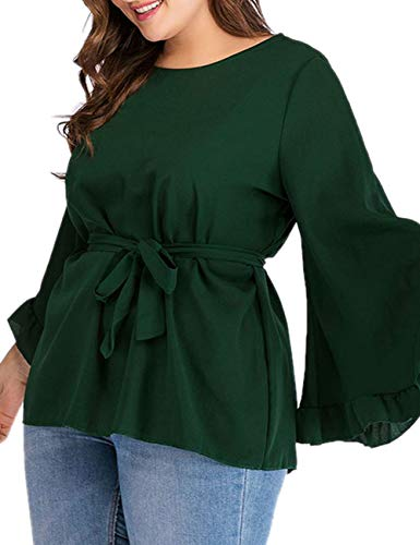 Dean Fast Women's Plus Size Boatneck Bell Sleeve Blouse Flare Casual Loose Top