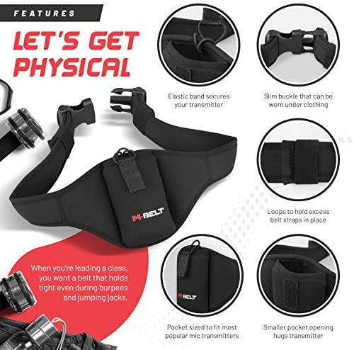 The Next Generation Mic Belt is Here! Mic Belt for Fitness Instructors - Vertical Microphone Transmitter Carrier Belt - Fitness Class/Public Speaking/Theatre - Durable and Machine Washable