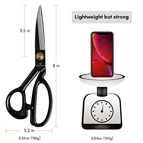 Fabric Scissors Professional 8 inch Heavy-Duty Sewing-Scissors for Leather Industrial Strength High Carbon Steel Tailor-Shears Dressmaking Tailoring Home Office Artists Students
