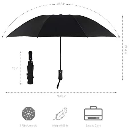 HITSLAM Black Umbrella Windproof, Automatic Compact Travel Umbrella with Teflon Coating and Waterproof Fabrics