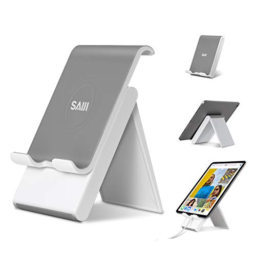 SAIJI Adjustable Tablet Stand, Foldable Portable Phone Stand, Ipad Desktop Holder Convenient Charging Port Compatible for Cell Phone, iPad, Tablets (Up to 12.9 inch) - Gray