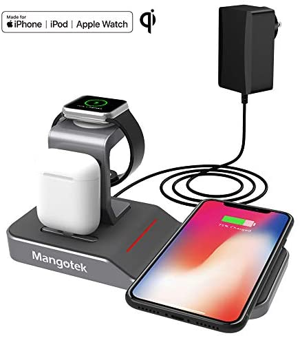 Wireless Charging Station, Mangotek Qi Wireless Charger for iPhone and Apple Watch, 4 in 1 Cordless Charging Stand Pad for iPhone 11/ Pro/Pro Max/XS/X/8