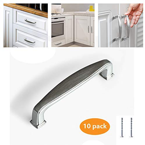 "Kullavik 10 Pack Satin Nickel Modern Cabinet Hardware Handle Pull - 3-3/4"" Inch (96mm) Hole Centers,for Kitchen Cupboard Door Bedroom Side Table Drawer etc."