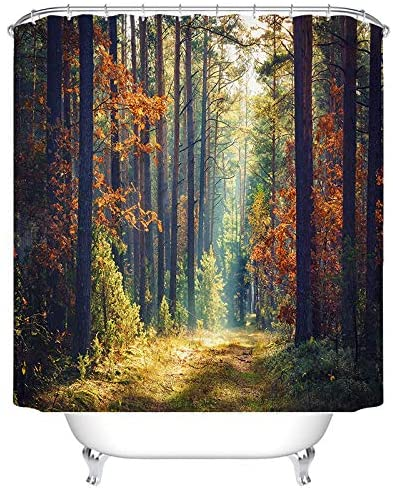 BEEBEE Woods Forest Shower Curtain for Bathroom Shower Curtain Set with Hooks Bathroom Polyester Fabric 72 x 72 INCHES
