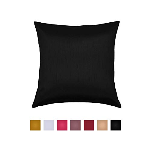 Essencea Decorative Throw Pillow Cover - Solid Faux Silk European Shams Pillowcase with Hidden Zipper - Cushion Covers for Bedroom, Sofa, Living & Couch Room - Machine Washable, Home Decor
