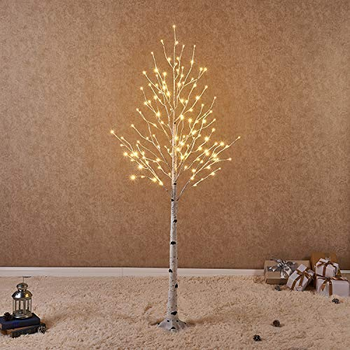 Lighted White Birch Tree 6FT 128L for Christmas Holiday Party Decorations TreePlug in Indoor Outdoor Use