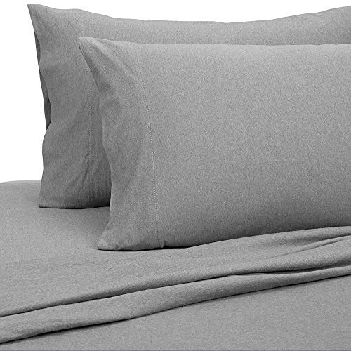 PURE BEDDING Jersey Sheets King [4-Piece, Dark Gray] Cotton Bed Sheets - Extra Soft Cotton Sheet Set, Cozy T-Shirt All Season Heather Sheets - Deep Pocket Fitted Sheet, Flat Sheet, Pillow Cases