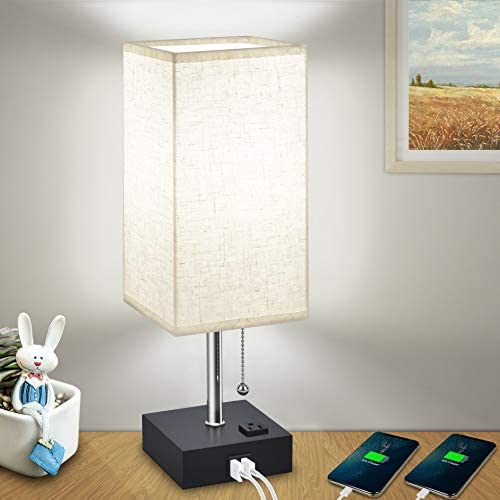 USB Bedside Table Lamps for Bedroom Daylight,Modern Nightstand Lamp with Charging Ports AC Outlet, Hansang Decoration Cuboid Fabric Linen Lampshade with Pull Chain,E26 Base Light Bulb Included