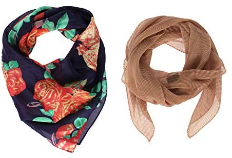 SERENITA, Women satin square silk feeling hair neck scarf and pleated chiffon neckerchief set