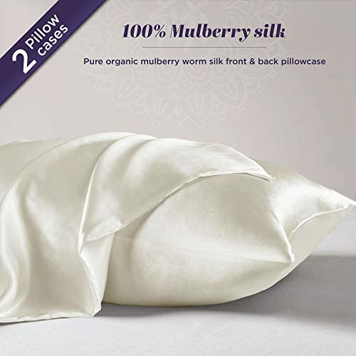 2-Pack Queen Size, Pick ANY COLOR - 100% Pure Mulberry Silk Pillowcase for Hair and Skin | Premium 25 Momme Organic Worm Silk Pillow Case, Hypoallergenic Antibacterial with Hidden Zipper