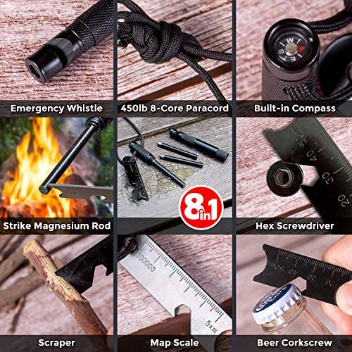 Aoralivre 8 in 1 Fire Starter Sticks, 1 Set + 2 Replacement Magnesium Rod, Flint Fire Starters Ferro Rods with Compass, Map Scale, Whistle. Multi Tool Flint Stick for Camping Backpacking Hiking