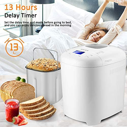 Bread Machine, 2LB 14-in-1 Bread Maker Machine with Nonstick Stainless Steel Pan | 2 Loaf Sizes & 3 Crust Colors | Reserve & Keep Warm Set | Recipe Booklet Included (White)